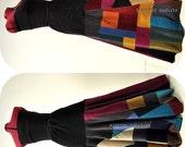 Vent à Minuit - Long Corduroy Patch skirt,  Unique Patchwork Bohemian skirt, Bold Winter threads, B Modiste Handmade, Ideal for -- S to M