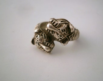 Head Tigers Sterling Silver Ring