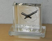 Modern Lucite Mirrored Mantel Clock