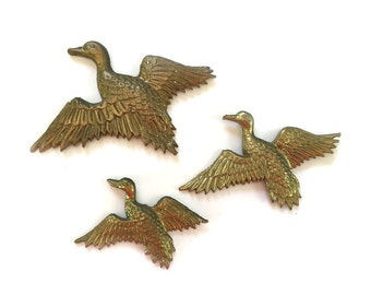 Vintage 3 Small Brass Geese Graduated Sizes Wall Decor