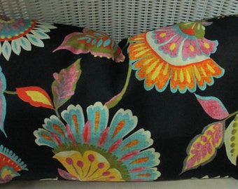 HUGE SALE Indoor/Outdoor Covers Fabric Black Flower   OutdoorPillow Covers Decorator Pillow Black Pillow Ready to ship