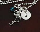 My Flamingo Initial Necklace - Sterling Silver