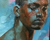 Young Beautiful Black Man,  oil on canvas panel 11x14 inches by Kenney Mencher (gay art)
