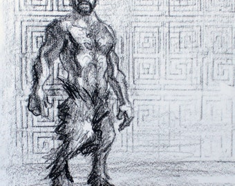 Dionysian Fornicate, 11 x 14 inches artist's crayon on sketchbook paper by Kenney Mencher (gay art)