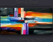 "Huge original modern art Abstract Acrylic Painting Modern Impasto Texture canvas by Tim Lam 48"" x 24"""