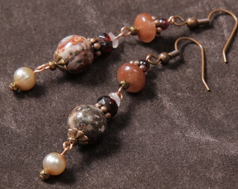 Sedona Sunset earrings: leaopard skin jasper, garnet, rose quartz, pearl, copper
