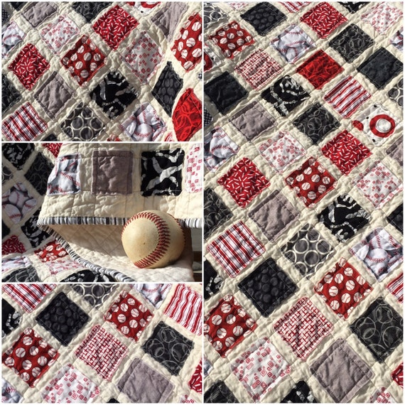 Baseball Vintage Quilt with Stripey Binding 41 x 39