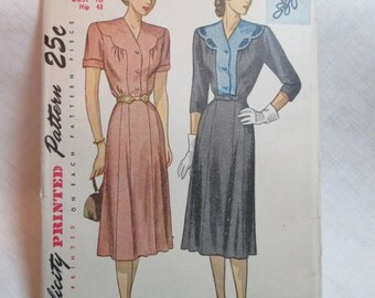 "Antique 1947 Simplicity Pattern #2104 - size 40"" Bust"