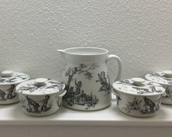 French Limoges Set, Toile de Jouy Pattern, French Grey Black and White