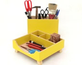 FREE SHIPPING - Desk Organizer, Box Set, Wooden set, Yellow Boxes, Office Accessories, Wood desk organizer, Desk decor, Desktop organizer