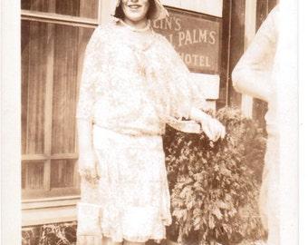 Girl Outside Hotel - Vintage Photograph - Vintage Photo - Ephemera - Vernacular (B)