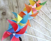 Paper Pinwheels Rainbow Favors Birthday Party Favors Rainbow Polka Dot Pinwheels Set of 5 Pinwheels Baby Shower Table Centerpiece Photo Prop
