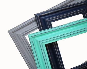 Picture Frame 8x10 Picture Frames Navy Aqua Gray or Custom Picture Frame 5x7 Navy Lime Nursery Decor Wall Art Wedding Frame Wide Wood Frames