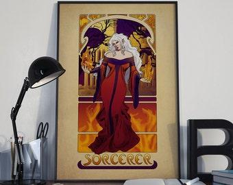 "L'Ensorcelleur - The Sorcerer - 12""x18"" Print - Dungeons and Dragons Art Nouveau Gamer Pathfinder"