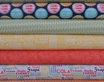 Sodalicious Diet Blueberry 7 Fat Quarters Bundle by Emily Herrick for Michael Miller, 1 3/4 yards total