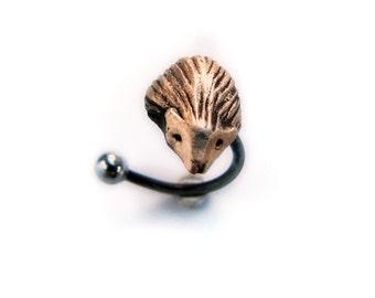 Hedgehog rook tragus helix cartilage piercing ear ring earring