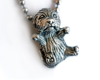Silver puppy dog necklace mini poodle, maltipoo, golden doodle, bichon shih tzu, cairn terrier