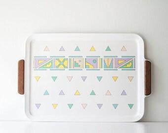 Vintage Oneida Memphis Style Tray Retro 1980s Pastel Triangle Graphic - JG Hook