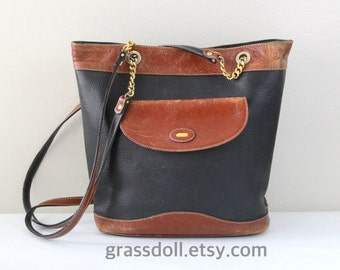Vintage Bally Black and Brown Leather with Gold Hardware Shoulder Bag ,Two shoulder Straps , Bally Shoulder Bag