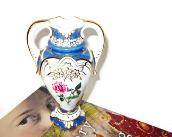 Porcelain Amphora Vase - Hand Painted Royal Dux Bohemia 1930s Czechoslovakia Double-Handled, Footed Porcelain Urn Style Vase