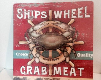 """BEACH SIGN! """"Ship's Wheel Crab Meat!"""", Metal, As New Condition!"""