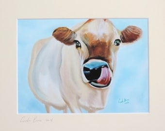 cow print, signed and mounted, art print, from original painting, Gordon Bruce art