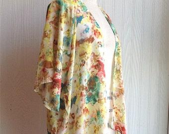 Kimono Top, Beach Cover Up, Summer Floral Top