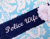 Police Navy blue Wedding Garter, stretch lace garter, handcuffs garter, police wife garter, flower garter, chiffon flower garter
