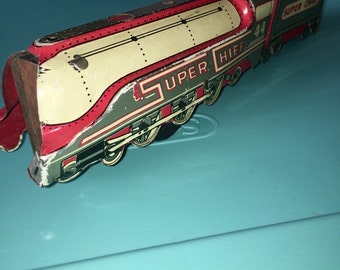 vintage tin Super Chief train engine friction toy for display