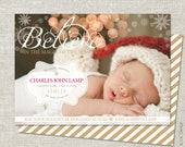 Christmas Birth Announcement | Holiday Birth Announcement | Double Sided | Printable JPG PDF - Believe in the Magic