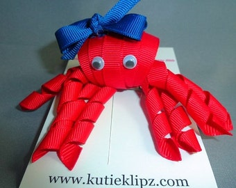 SALE - Ruby the Red Octopus Hairbow...3D Ribbon scupture,Hair bow,Hair Accessory,Hair Clip