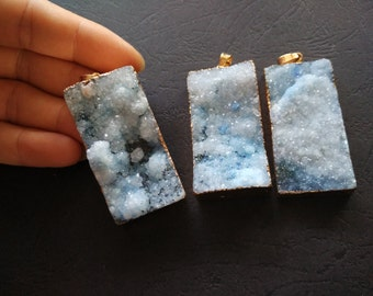 10pcs Light Blue Druzy Agate Pendant Rectangle 25x50mm- Gold plated- SIMILAR AS Pictured