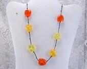 Sale 20 Vintage cracked spackled acrylic yellow orange beads necklace.