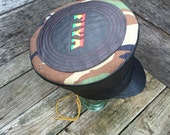 """Black Leather Rasta crown hat tam 25"""" x 7"""" tall OOAK from Creator's Blessing"""
