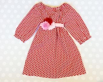 Red Polka Dot Dress with Flower Belt - Valentine Dress for Girls and Baby Girls - Valentine Dress - Girls Dresses - Baby Girl Dress