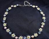 Germany Enameled Edelweiss and Blue & AB Rhinestones Necklace, Adj. Length