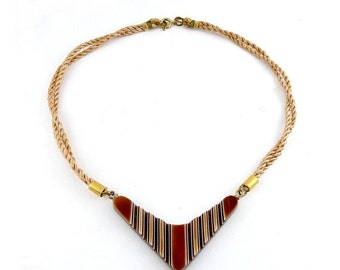 1960's Brown & White Laminated Acrylic Plastic Boomerang Chevron Pendant on Cord Necklace