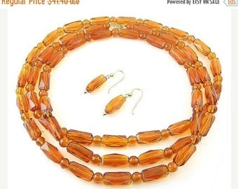 1920's Topaz Glass 46-InchLong Flapper Necklace & Drop Earrings