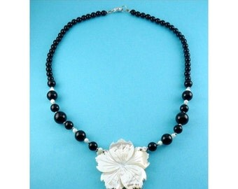 Lee Sands Black Onyx & Mother of Pearl Flower Pendant Necklace