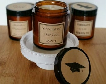 Graduation Party Favors, 25 Scented Soy Candles, High School Graduation, 2016 Graduate, College Graduation, Custom Favors, Gifts for Guests