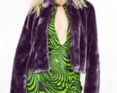 90's Grape Purple Faux Fur Coat size -S/M