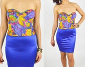 1990's Multi COLORED Abstract Floral Patterned Cropped BUSTIER BRA Top. Low back Line
