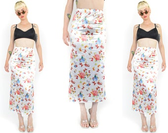 90's WHITE FLORAL BUTTERFLY Long Skirt. High Waisted. 90's Grunge Mod Animal Print. Mid Calf Skirt. Shiny Lycra Spandex