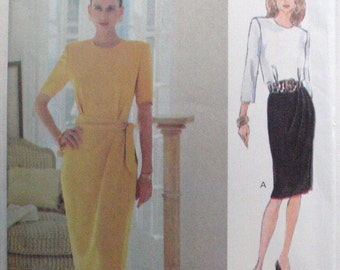 Easy Vogue Woman Sewing Pattern - Dress and Sash - Vogue 8694 - Sizes 12-14-16, Bust 34 - 38, Uncut