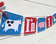 ONE banner, modern farm animal banner, farm birthday, cow, pig, rooster banner, red and brown, farm garland, farm photo prop, ONE banner