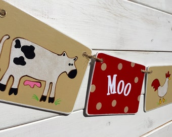 FARM banner, modern farm animal banner, farm birthday, cow, pig, rooster banner, red and brown, farm garland, farm photo prop