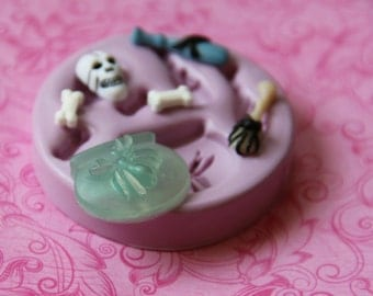 Cauldron Spider Silicone Mold Bones Skull Potion Bottle Clay Resin Fondant Mold Cakepop decoration