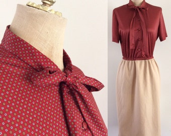 1980's Two Tone Secretary Dress with Ascot Bow Pusdy Bow Tan & Maroon Vintage Dress Size Small Medium by Maeberry Vintage