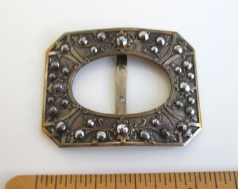 Antique STEEL CUT Shoe Buckle - Ornate Base - Possibly Bronze, France