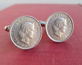 Switzerland Coin Cuff Links - Vintage Helvetica 5 Rappen Repurposed Coins